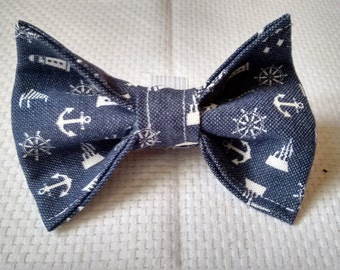 Nautical Theme Fabric Collar Bow