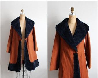 S a L E - 50s Mod Princess Coat / 1960s Coat / Collar Coat / Size S/M