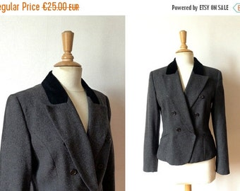 50%WINTERSALE 90s dark grey wool black velvet double breasted fitted blazer 40/10