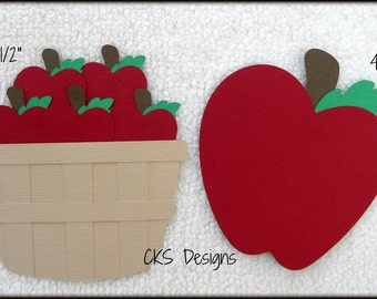 Die Cut Apple Picking Basket Scrapbook Page Embellishments for Card Making Scrapbook or Paper Crafts
