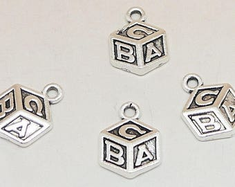 10pcs-Block toy charm-Antique silver tone letter block  charm