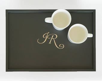 Personalized Couple,  monogrammed wedding Breakfast serving Tray or Laptop Lap Desk- engraved Initials, Names or wedding logo