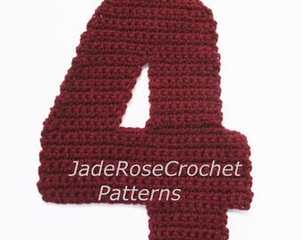 Number 4 Pillow Crochet Pattern, Number Applique, 3D Accent Pillows, Number 4 Home Decor, in 5 Sizes