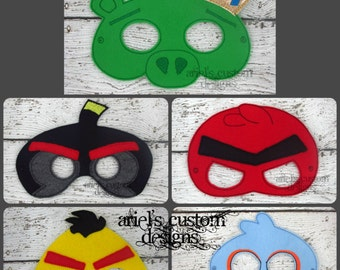 Angry Birds Masks SET OF 5 - Angry Birds Mask - Angry Birds Birthday Party - Felt Dress Up Masks - Birthday Party Favor Halloween