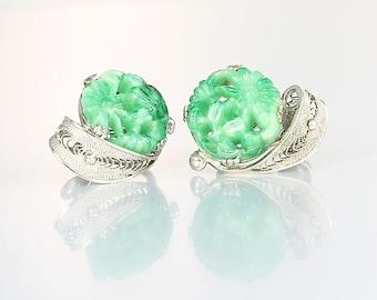 Peking glass Earrings, faux Carved Jade Floral Sterling silver Filigree vintage jewelry