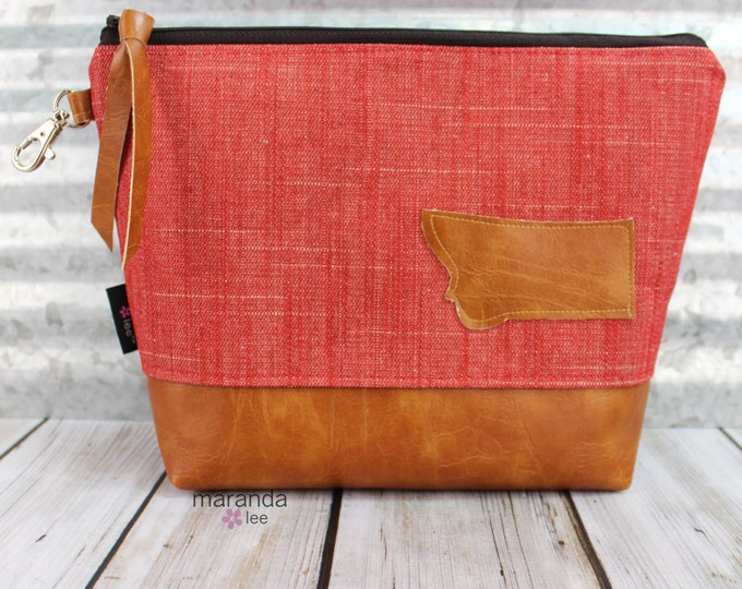 AVA Clutch -Large - Red Denim Montana Patch  READY to SHIp