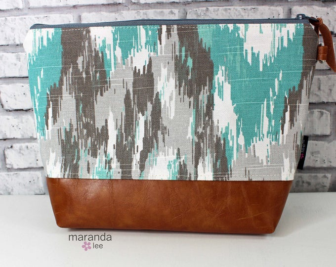 AVA Clutch -Large - Ikat Canal with PU Leather READY to SHIp Cosmetic  Diaper bag Travel Make Up Zipper Pouch