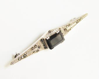 Vintage Sterling Marcasite Black Onyx Bar Brooch Equestrian Stock Tie Pin signed