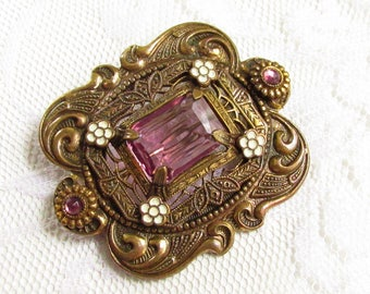Antique Victorian Amethyst Glass Stone White Enamel Brooch Art Nouveau