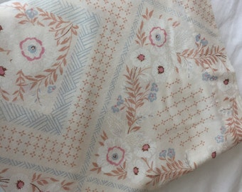 Vintage Full Flat Bedsheet- 1980s, blue, pink, brown and cream