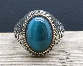 Genuine Agate Mens Ring