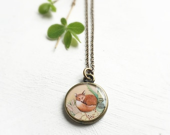 Handmade FOX NECKLACE, Illustrated Fox Jewelry, Red Fox Necklace, Fox Art Necklace, Handmade Woodland Pendant