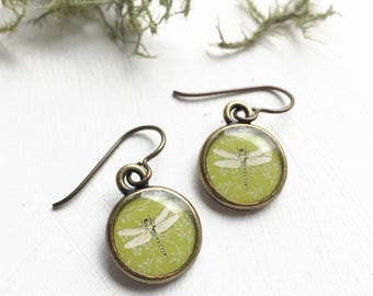 Handcrafted Dragonfly Earrings, Chartreuse Earrings, Spring Green Jewelry made from Original Painting, Dragonfly Jewelry, Springtime jewelry