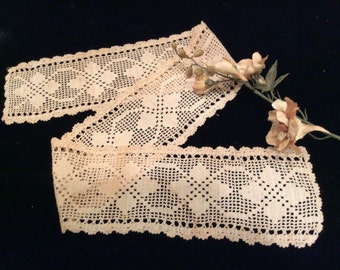 Vintage Handmade  Dark Ivory  Light Ecru Cotton Crocheted Lace Edging, Camisole Lace,Vintage Crochet Trim, Country Lace