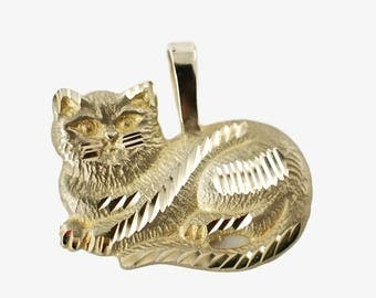 Vintage 14k Yellow Gold Cat Pendant Charm