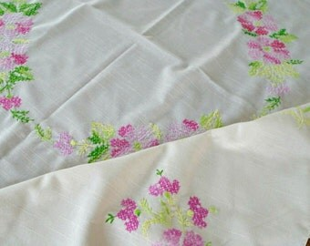 Pink Flowers Tablecloth / Vintage Embroidered Tablecloth / Cream Colored Linen / Hand Embroidered Cross Stitch / Spring / Shabby Chic