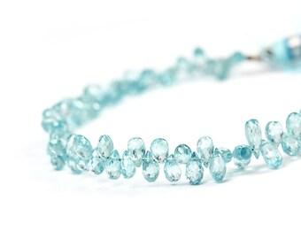 Natural Blue Zircon Faceted Teardrop Briolettes 4 Sky Blue Semi Precious Gemstones
