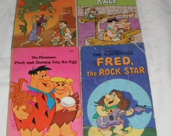 4 softcover Hanna-Barbera's The Flintstones books The Rock Star Wicked Witch Lay An Egg
