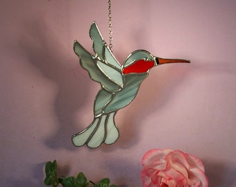 Suncatcher Stained Glass Hummingbird with Ruby Throat  (779)