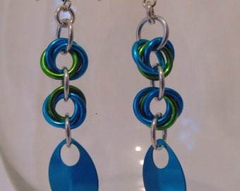 Blue and Green Mobius Earrings