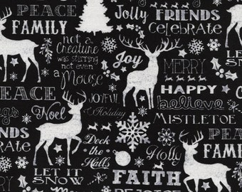 Joy - Christmas Words Black from Timeless Treasures