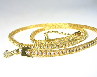 """Vintage Rhinestone Mesh Belt, Gold Tone, Clear Rhinestones, 42"""", Women's Metal Belt, Hook Clasp, Casual or Night Out, Gift Idea, Excellent"""