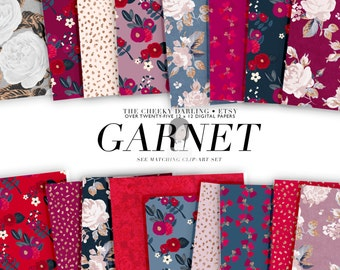 Digital Paper Pack Planner Clipart Garnet January Valentines Day Floral Printed Commercial Use ok Red Pink Blue Glitter Gold