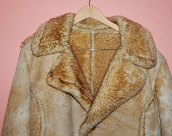 Men's Sheepskin Shearling Vintage Coat by Gino Leathers USA Size 46