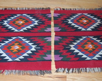 Pair Native American Rugs Vintage Area Rugs Handwoven Tribal American Indian