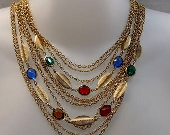 Vintage Multi Gold Chain Necklace with Faceted Glass, 70s Costume Jewelry, Renaissance Chain Choker, Gold Chains, Chain Necklace, Stunning -
