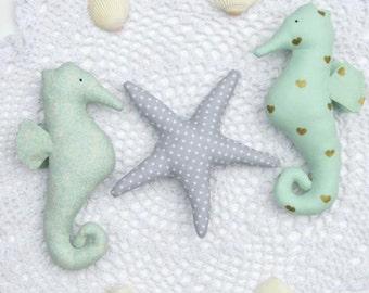 Plush seahorse and starfish toys teal mint gray child friendly toy set stuffed seahorses & starfish nautical nursery decor baby shower gift