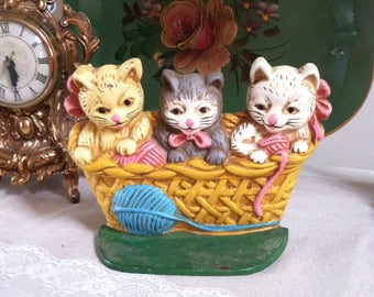 Kittens iron door stop three kittens cast iron door stop cat lover vintage cast iron door stop three kittens in a basket