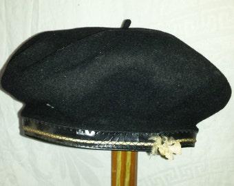 French Beau Basque Beret Depose Pure Laine (Wool) Black