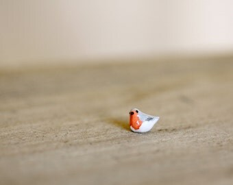 Tiny miniature clay robin bird