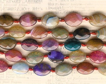 14mm Rainbow Agate Faceted Oval, 7 inch Strand, 14mm Flat Oval, Flat Agate Oval Stone, Faceted Agate Beads, Striped Agate, Rainbow Agate
