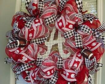 "University of Alabama Wreath, Collegiate Wreath, Roll Tide, Alabama Deco Mesh Wreath, Alabama Wreath, ""A"", Bama Wreath Alabama"