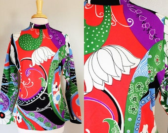 60s MOD Psychedelic Top with Batwing Sleeves // Pucci Inspired Twiggy Hippie