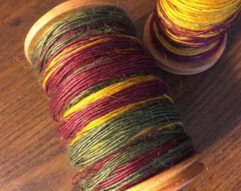 Handspun Single-ply Vegan Ramie Yarn; maroon, gold, pine green
