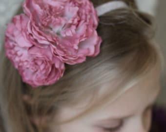 Pink Elastic Floral Headband, Toddler Photo prop, Girls Headband