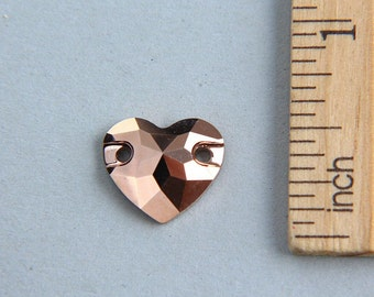 SALE, Swarovski crystal button, Crystal Rose Gold Swarovski button, Heart button, Crystal Rose Gold Heart Button, 12mm (1 piece)