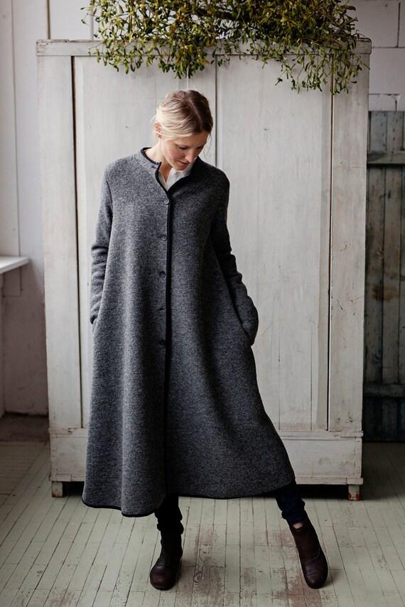 langen mantel wollmantel wintermantel damen m ntel grauer. Black Bedroom Furniture Sets. Home Design Ideas