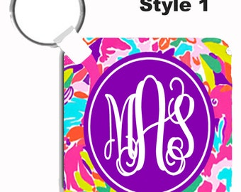 Personalized Key Chain - Monogrammed Keychain- Perfect Sweet Sixteen Gift - Lilly Inspired Flamingo