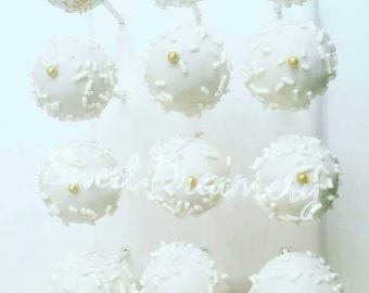Winter white cake pops