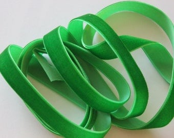 "5/8"" wide Velvet Ribbon - Emerald Green - 3 yards"