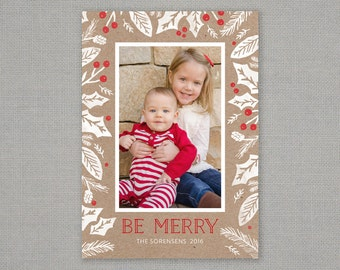 Christmas Card - Be Merry - Kraft Holiday Foliage // Kraft paper // Holiday Card // Holly Berry // Red // White // Classic // Pine