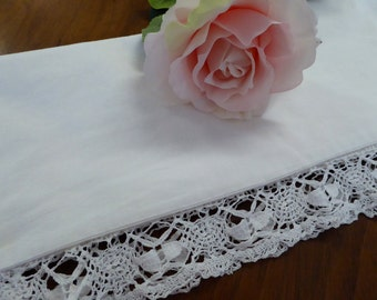 Vintage Single Pillowcase White with Lavish Knoted Trim