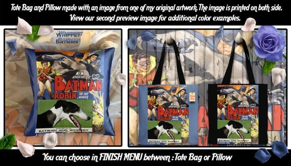 Whippet Pillow or Tote Bag/Whippet Art/Dog Tote Bag/Dog Pillow/Dog Art/Custom Dog Portrait - Batman and Robin Movie Poster