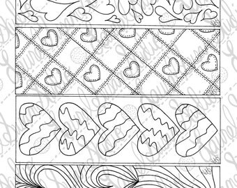 Heart Bookmarks PDF Printable Coloring Page Valentines Day Activity