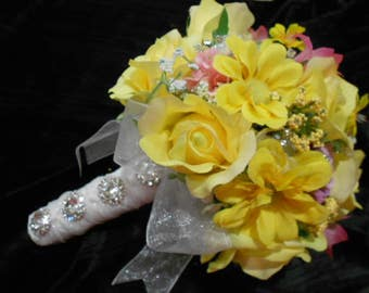 FIRST COMMUNION BOUQUET. Premium Florist Quality Silk Flowers. Yellow Pink Lavender Blue. Rhinestones. Tiny Bridal Bouquet.