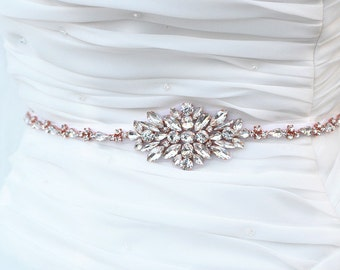 ROSE GOLD Wedding Belt, Bridal Belt, Sash Belt, Crystal Rhinestones sash belt,vintage sash belt